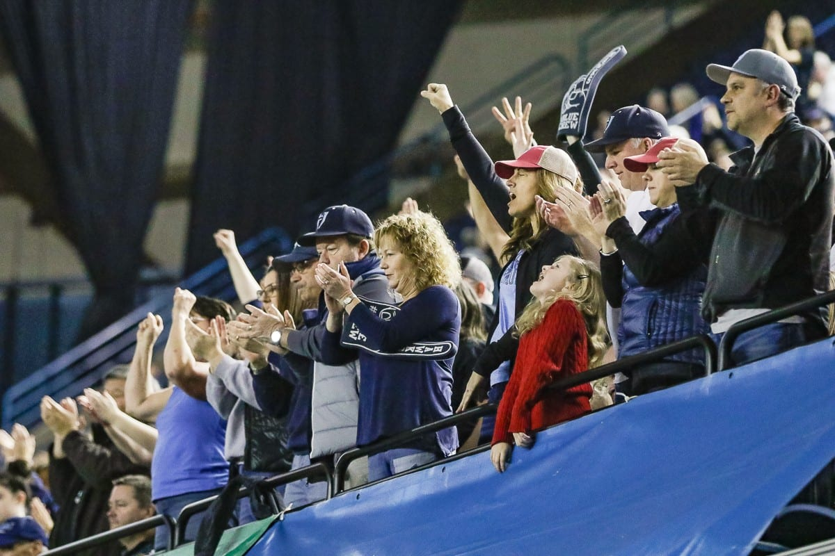 Hockinson fans cheer their team Saturday at the Tacoma Dome during the Class 2A state high school championship football game. Photo by Mike Schultz
