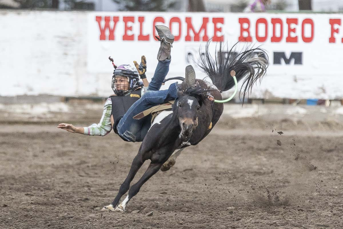 This photo shows that participating in the Vancouver Rodeo is not always a walk in the park. Photo by Mike Schultz