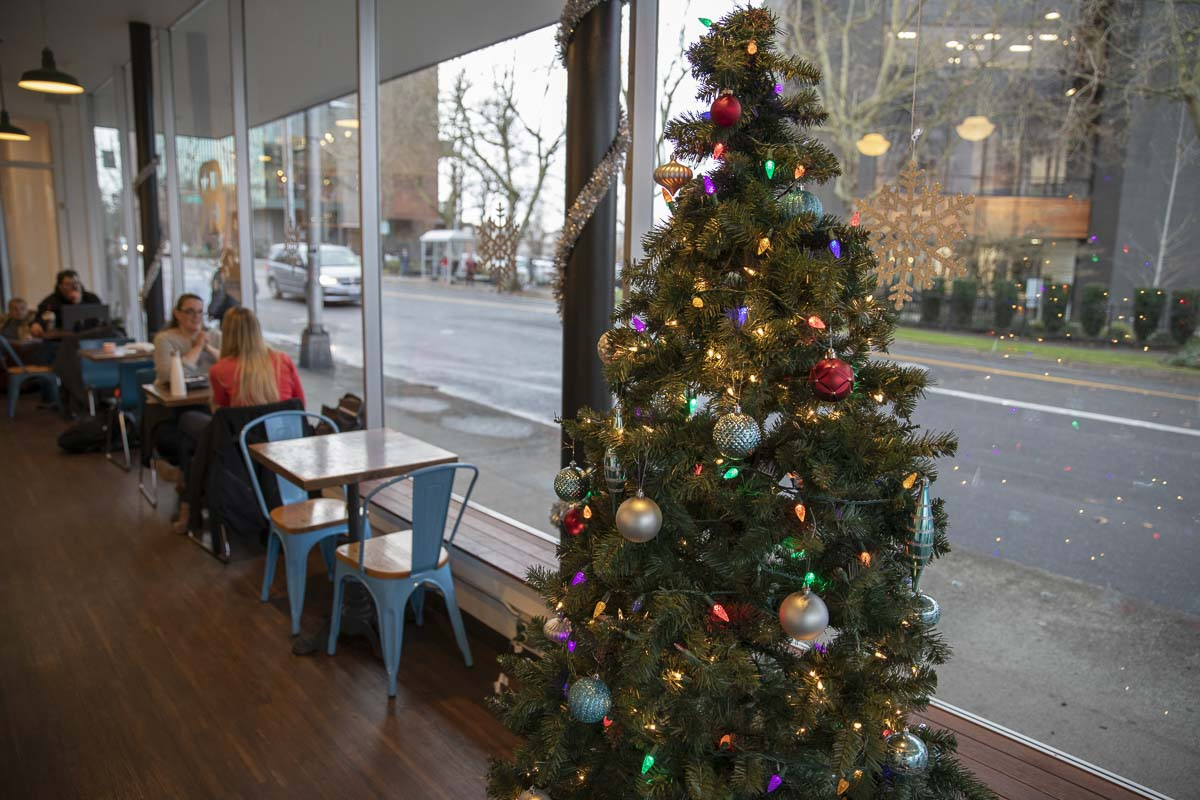 Downtown's Black Rock along Broadway, decided to go full speed into the spirit of Christmas, with a tree, employee stockings and snowflakes filling the shop with cheer. Photo by Jacob Granneman