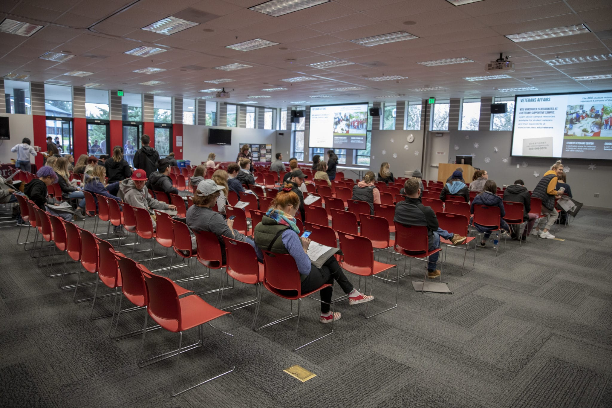 Students begin to gather on the afternoon of Jan. 3, for the ROAR orientation in the Firstenburg Student Commons. Photo by Jacob Granneman