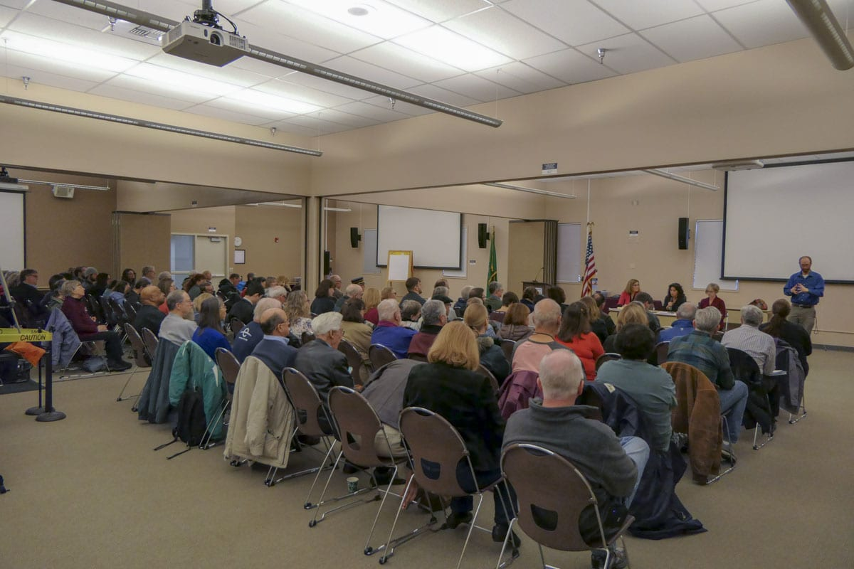 A crowd packs the ESD 112 building's conference room to hear from their 49th District representatives. Photo by Chris Brown