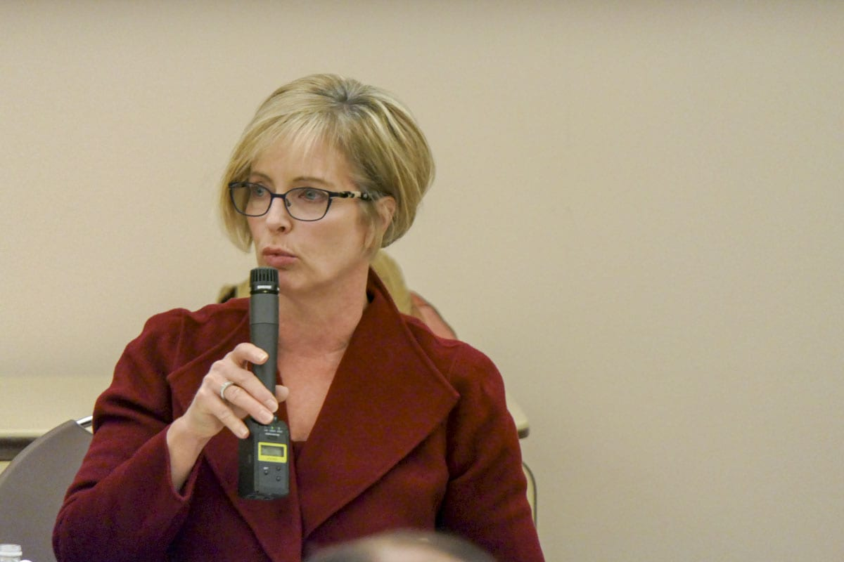 Sen. Annette Cleveland talks to constituents at a town hall meeting of 49th District lawmakers. Photo by Chris Brown