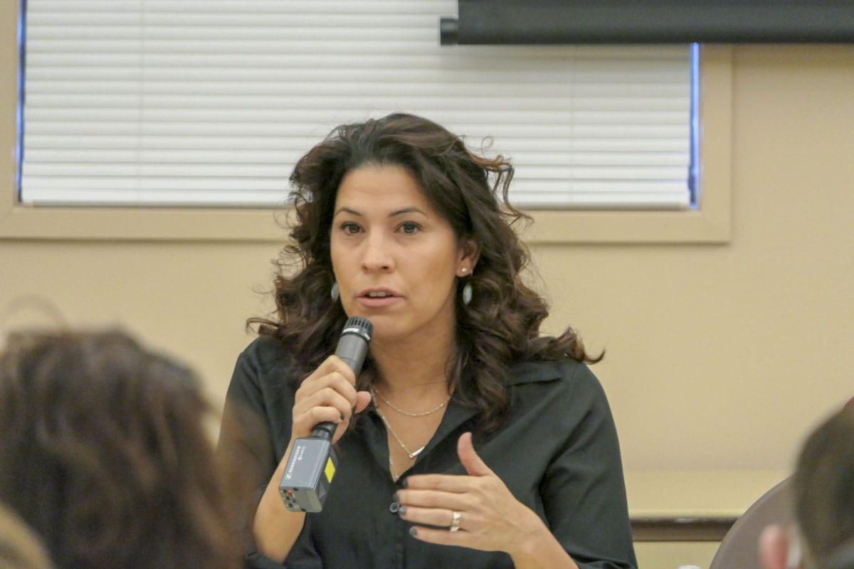 Rep. Monica Stonier (49th District) talks with constituents at a recent town hall meeting. Photo by Chris Brown