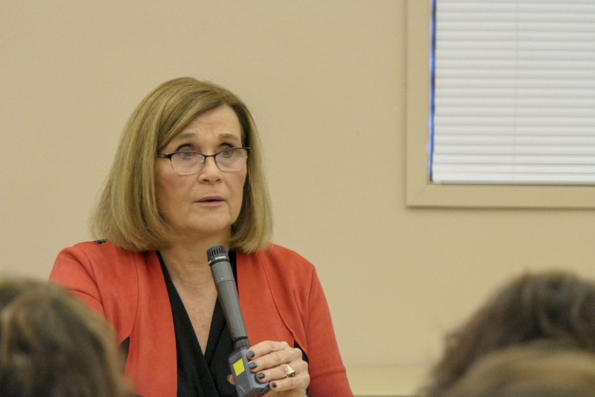 Rep. Sharon Wylie, of the 49th District, talks to constituents at a town hall meeting. Photo by Chris Brown