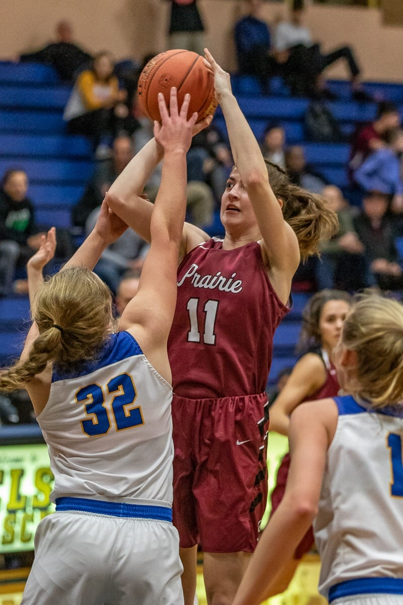 Kendyl Carson of Prairie had to sit out varsity action last season after moving from Alaska. She is making up for lost time this season, one of the starters on one of the best girls basketball teams in the state. Photo by Mike Schultz