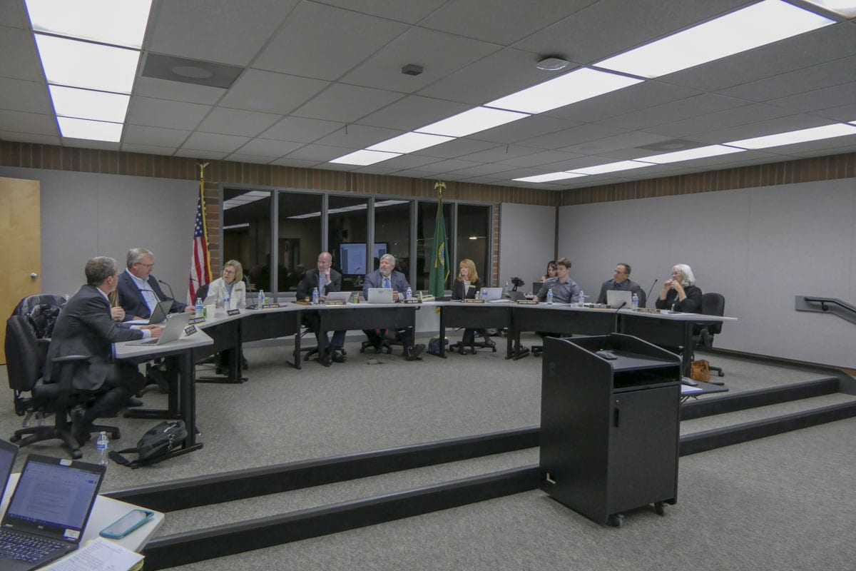 Battle Ground School Board debates boundary changes to address overcrowding in the district. Photo by Chris Brown
