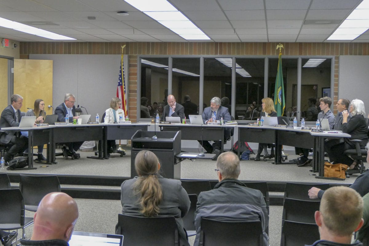 Battle Ground School Board debates boundary change options at their Monday meeting. Photo by Chris Brown