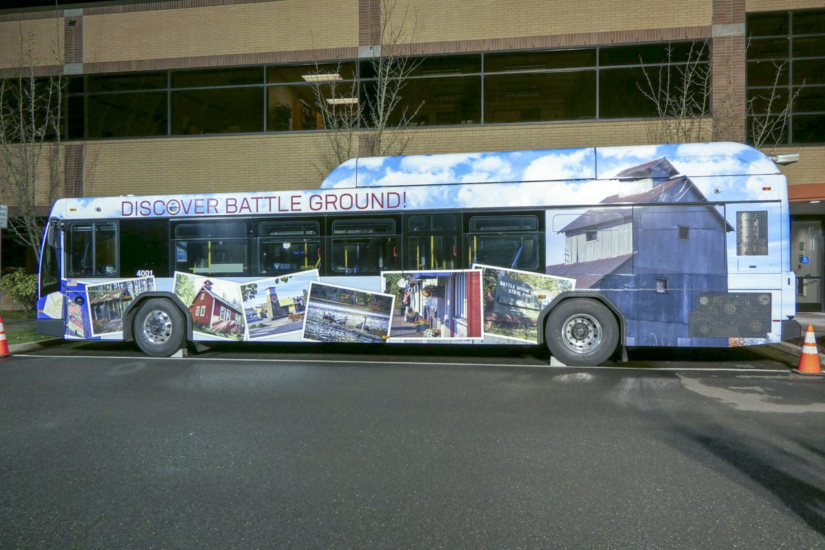 Battle Ground is featured on the first C-Tran bus in a series meant to advertise the cities they serve. Photo by Chris Brown