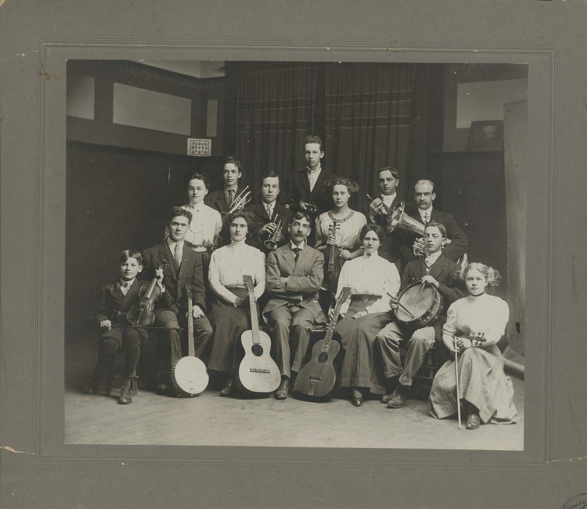Vancouver High School Orchestra in 1910, managed by Professor F. Clyde Leathers. Photo courtesy of Clark County Historical Museum. Photo courtesy of Clark County Historical Museum