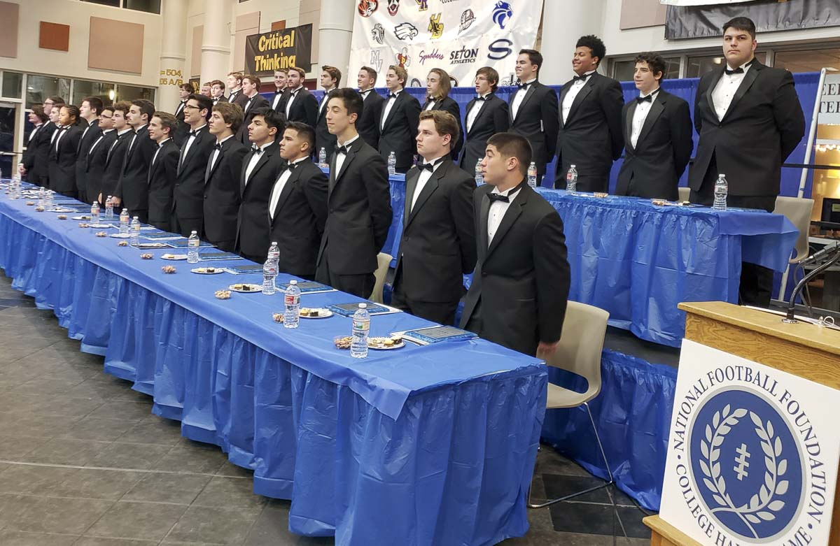 In all, 32 of the 33 nominees from Southwest Washington were able to attend this year's banquet presented by the National Football Foundation. All of them were publicly acknowledged for their excellence in the classroom, their commitment to football, and their dedication to their schools and communities. Photo by Paul Valencia