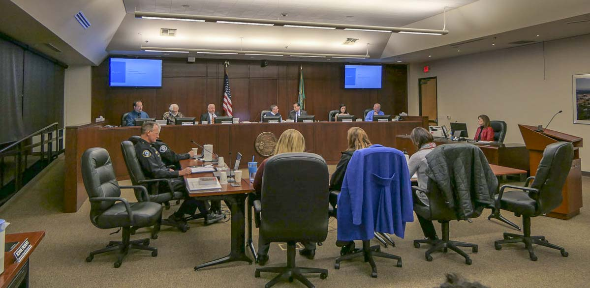 Battle Ground City Council considers options on whether to hire an outside firm to find a new city manager. Photo by Chris Brown