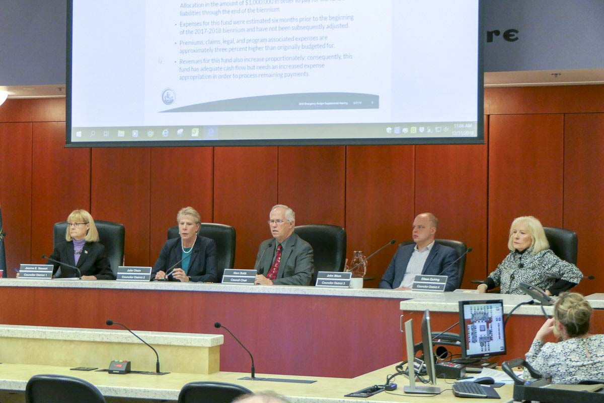 The 2018 Clark County Council wrapped up their work New Year's Eve day by approving an emergency request for added spending. Photo by Chris Brown