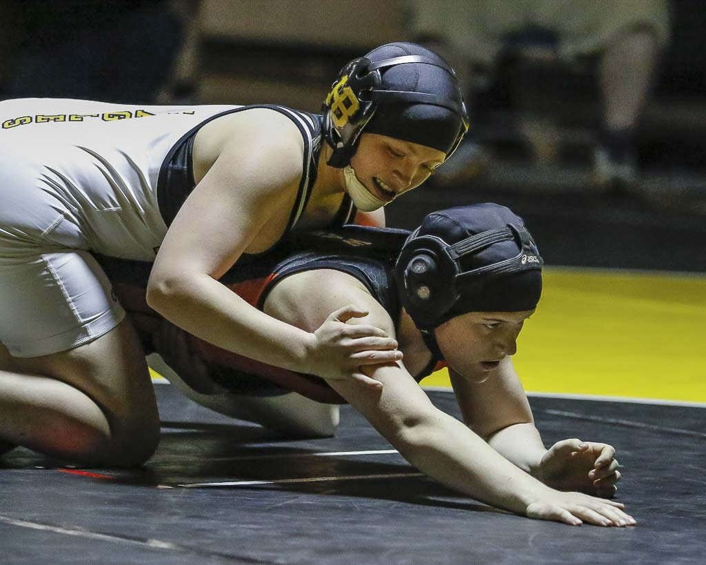 Allison Blaine of Hudson's Bay, shown here last season at the Clark County Wrestling Championships, went on to win a state title in 2018. She is scheduled to compete at the Clark County tournament again Saturday at Battle Ground High School. Photo by Mike Schultz