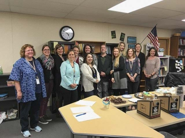 Ridgefield School District educators recently earned their micro-credentials in Social Emotional Learning from OSPI. Back row (L-R): Karen Bachle, Megan Suarez, Marianne Mack, Amber Lutes, Monica Deshazer, David Payette, Teresa Vance, Tiffany Quast, Kayl. Photo courtesy of Ridgefield School District