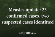 Measles update: 23 confirmed cases, two suspected cases identified