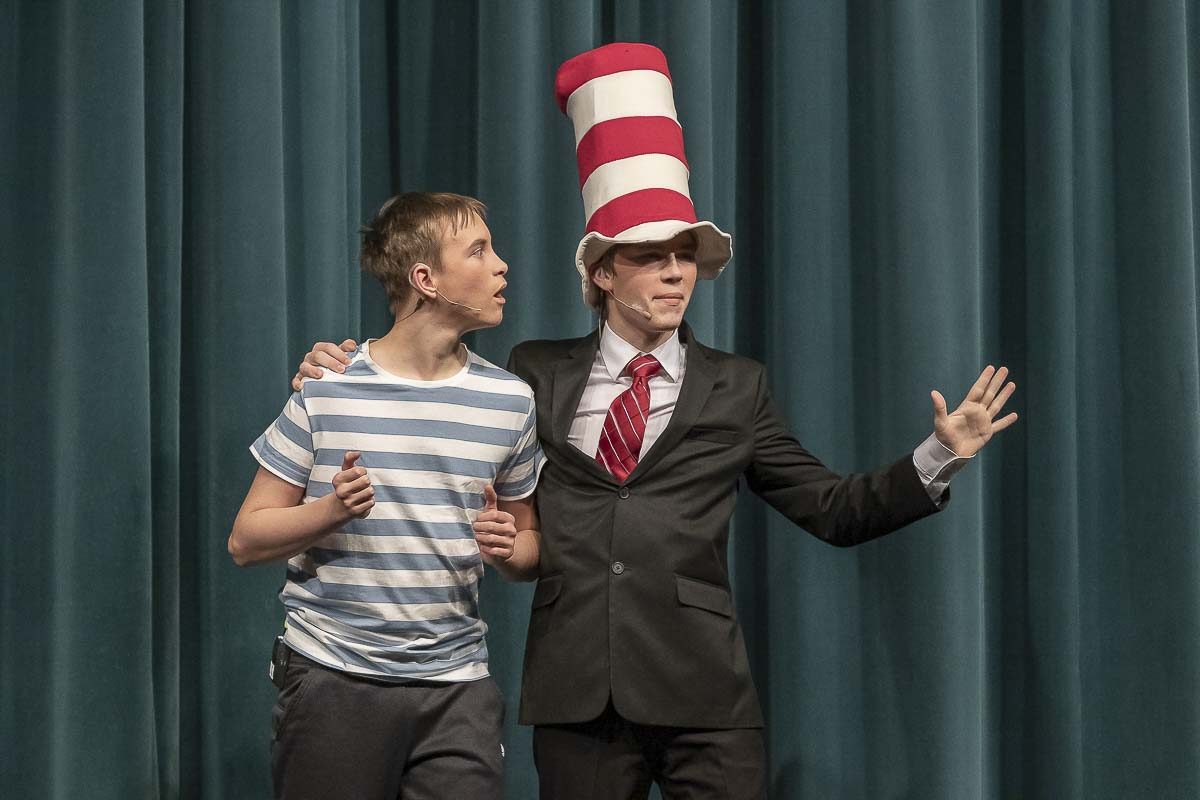 "Alex Goff and Derek Tucker sing and dance together as Jojo and The Cat in the Hat, during the ""Seussical"" classic, ""All The Thinks You Could Think!"" Photo by Mike Schultz"