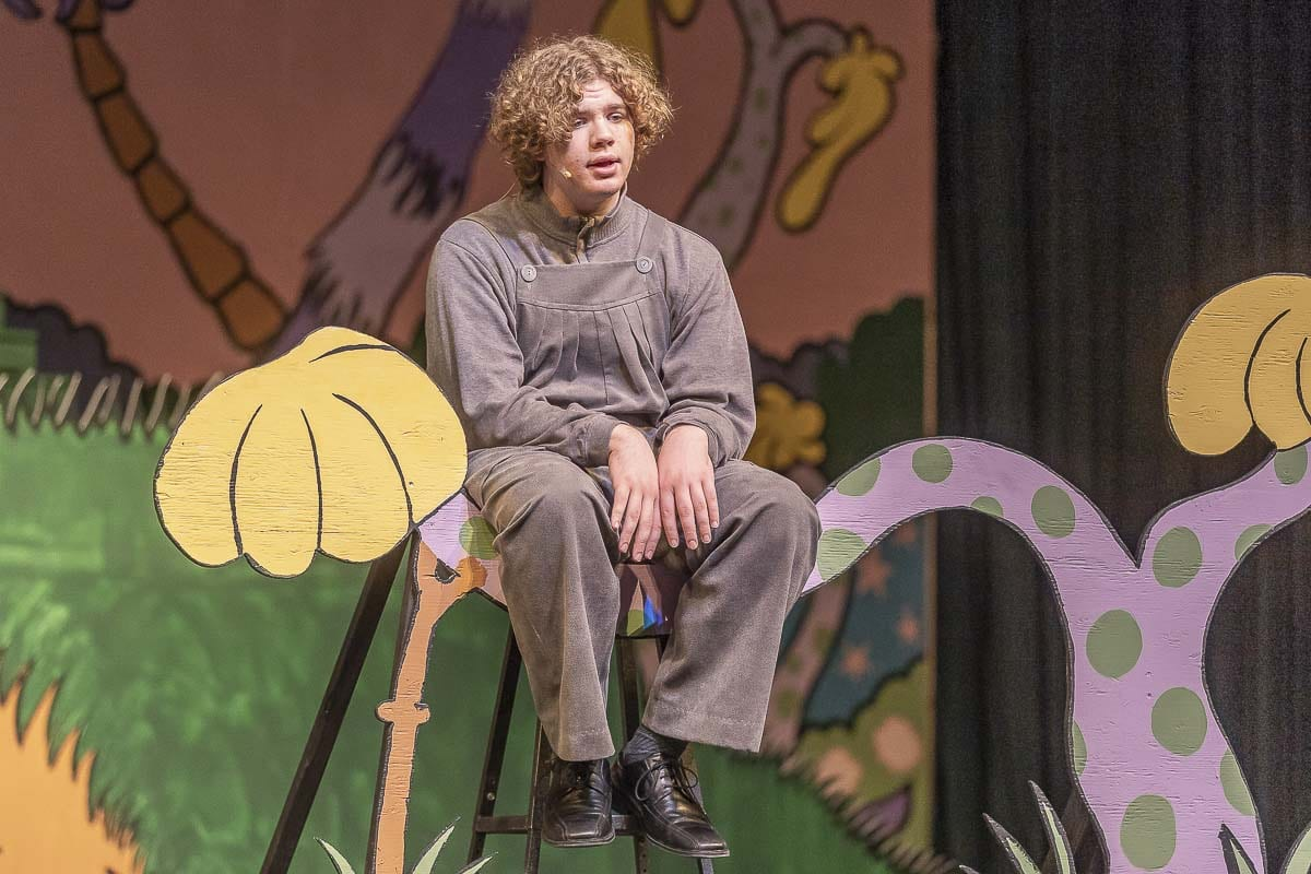 "Ethan Radcliffe plays the gloomy Horton the Elephant in Skyview High School's production of ""Seussical"" the musical. Photo by Mike Schultz"