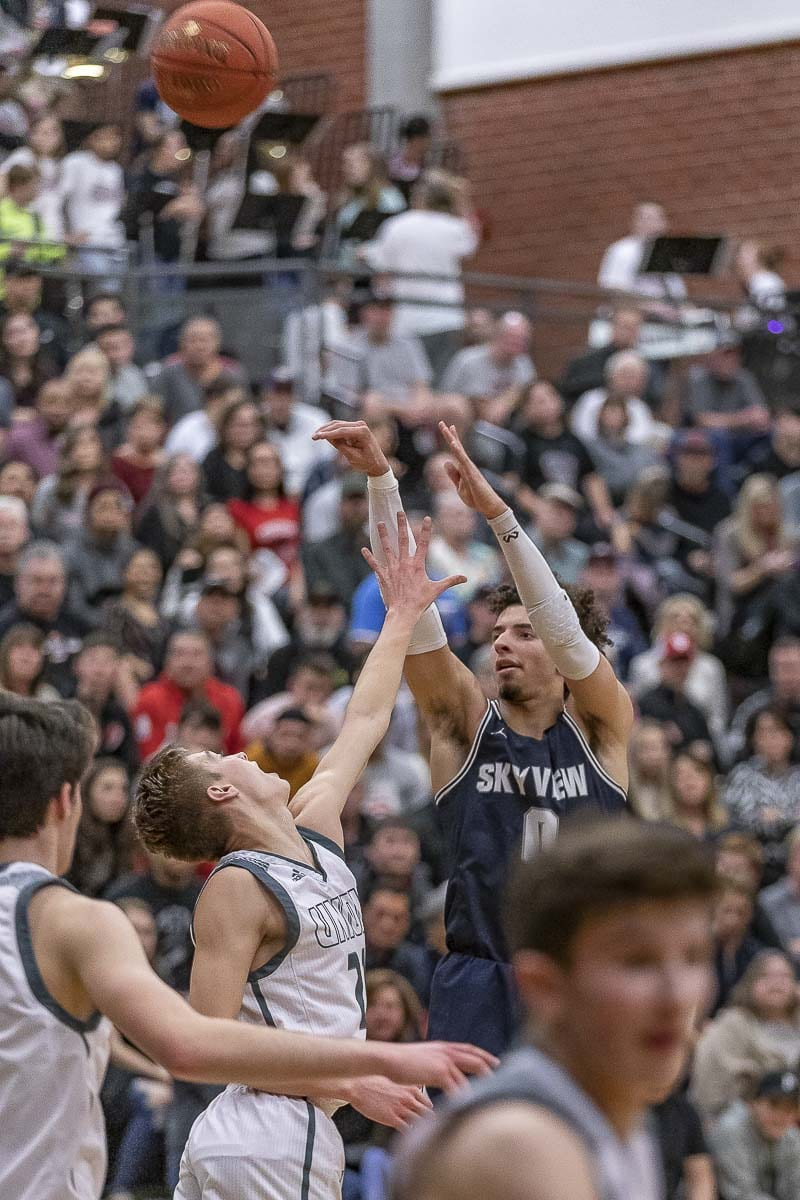 Skyview senior Alex Schumacher finished with a game-high 19 points. Skyview finished second in the 4A Greater St. Helens League. Photo by Mike Schultz