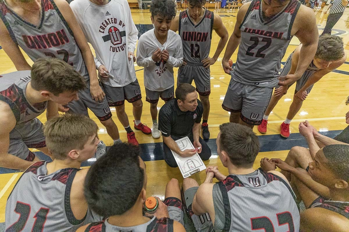Union coach Blake Conley and the Titans are 16-0 this season after holding off Skyview on Tuesday in a key Class 4A Greater St. Helens League boys basketball game. Union is 4-0 in league play. Skyview fell to 12-4, 3-1. Photo by Mike Schultz