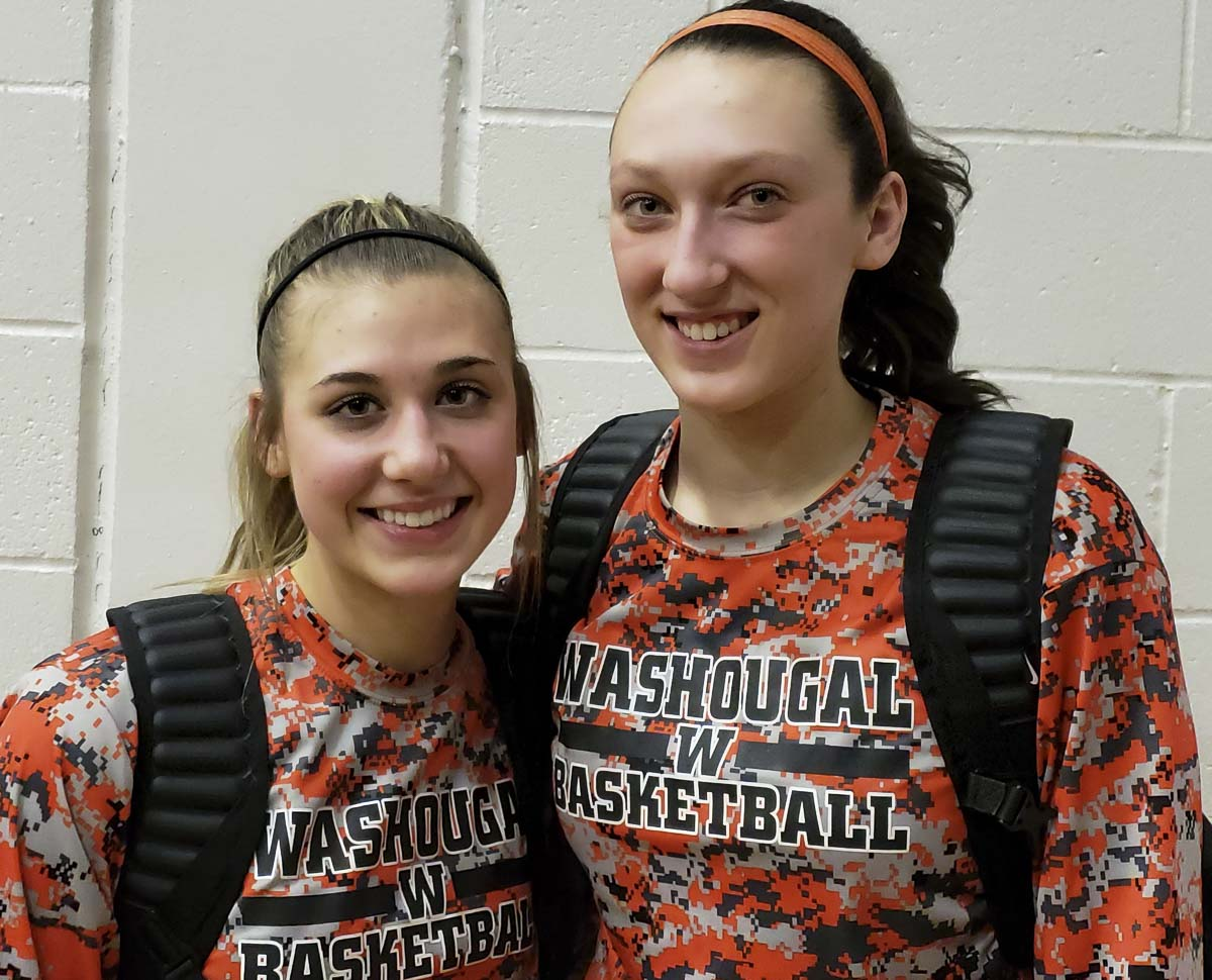 McKinley Stotts and Beyonce Bea of Washougal helped the Panthers improve to 6-0 in the 2A Greater St. Helens League with a win over Columbia River on Monday. Bea eclipsed the 1,500-point mark for her career. Photo by Paul Valencia
