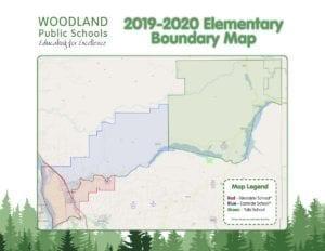 Woodland Primary and Woodland Intermediate Schools will be reconfigured to join Yale Elementary in serving grades K-4 beginning with the 2019-2020 school year and all three schools will have attendance area boundaries. Map courtesy of Woodland School District