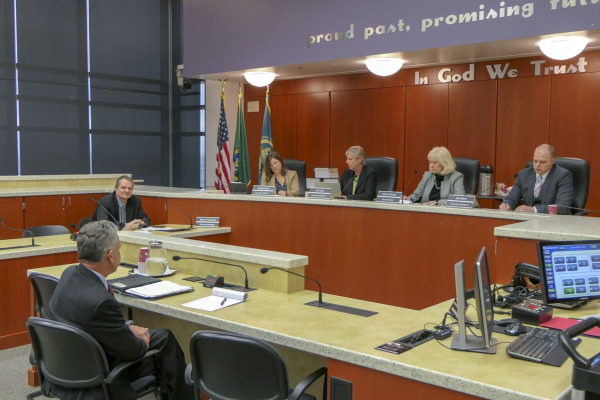 Gary Medvigy answers questions from members of the county council prior to his selection to fill vacant District 4 seat. Photo by Chris Brown