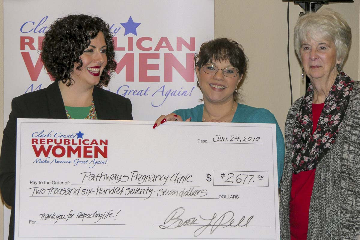 Clark County Republican Women President Brook Pell presents a check to Pathways Pregnancy Center Executive Director Kimberli Swenson and Board Member Eileen Morgan. Photo by Chris Brown