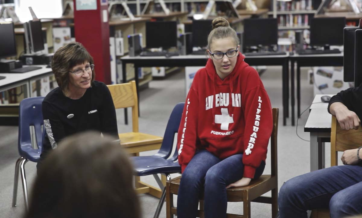 PHS teacher, Dawn Rowe, (center), talks with her team of student leaders at a orientation for Inspire Week on Jan. 29. Photo by Jacob Granneman