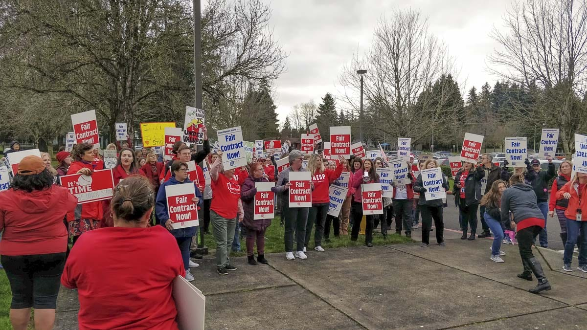 Members of the union representing Vancouver School's paraeducators, and other staff, rallied outside district headquarters ahead of a possible strike starting Friday
