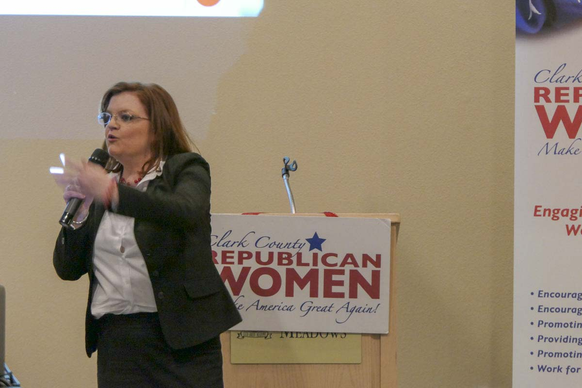 Forensic accountant Tiffany Couch addresses the Clark County Republican Women and others at Club Green Meadows Thursday. Photo by Chris Brown