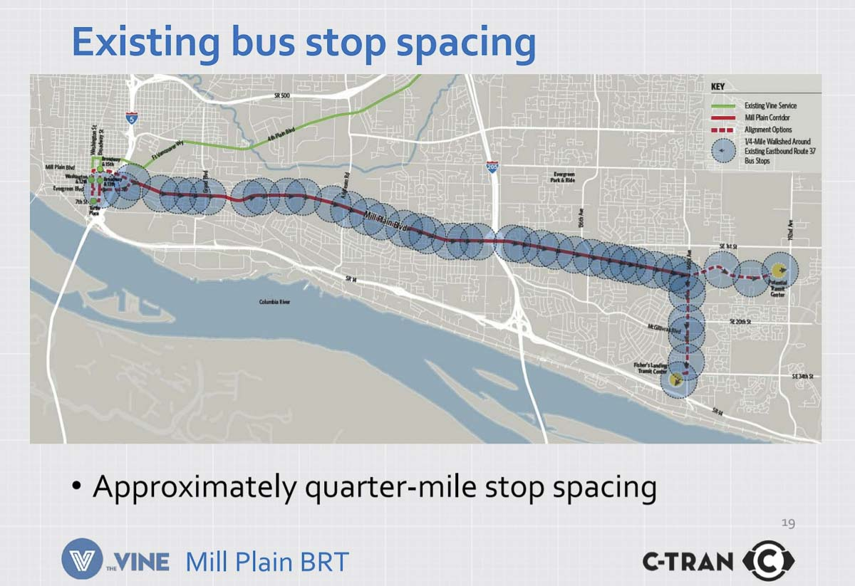 This graphic shows the current bus stops along Mill Plain. Image courtesy C-TRAN
