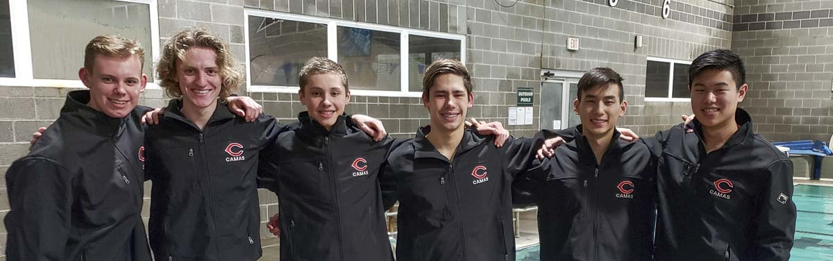The Camas Papermakers have won back-to-back team titles in boys swimming. While a third title might be tough to earn this week, the athletes are proud to represent their school and program. Going to state are: (From left to right) Jack Harris, Luke Bales, David Peddie, Austin Fogel, Jaden Kim, and Christopher Xia. Not pictured: Josef Kiesenhofer. Photo by Paul Valencia