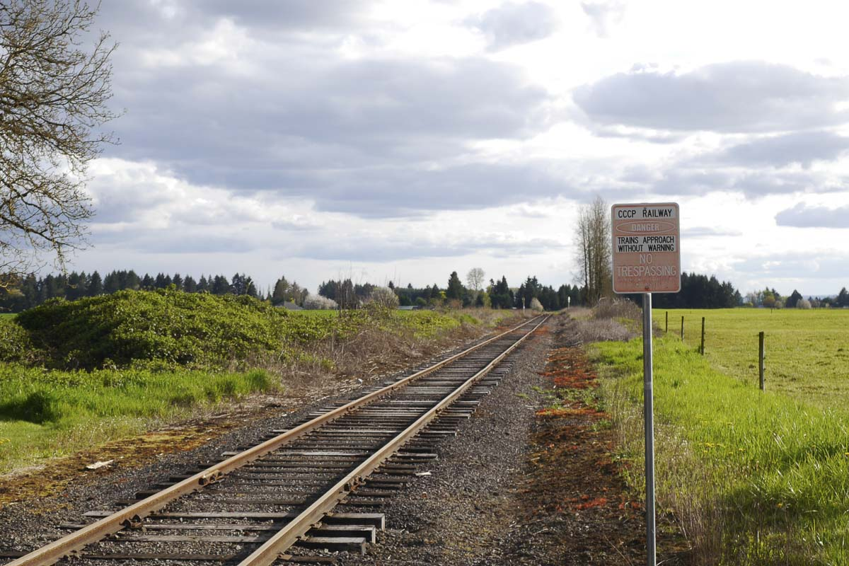 The Chelatchie Prairie line in Brush Prairie where freight rail dependent development is proposed. Photo by Chris Brown