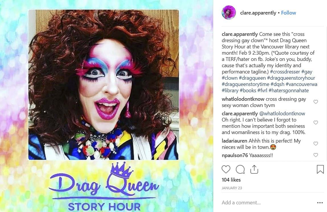 Clare Apparently, in a post on Instagram, announces the Drag Queen Story Hour event on Feb. 9 in Vancouver. Instagram photo