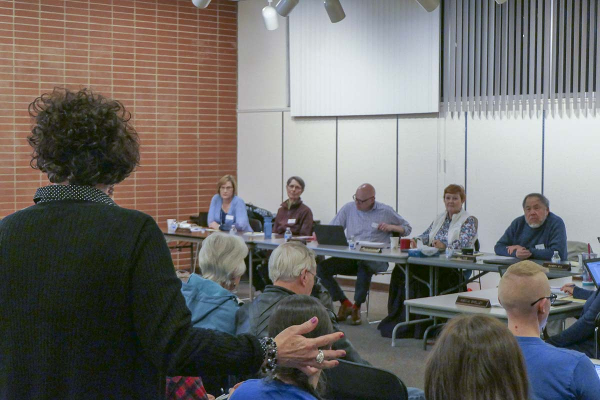 Piper McEwen addresses the FVRL Board of Trustees at Tuesday's meeting. Photo by Chris Brown