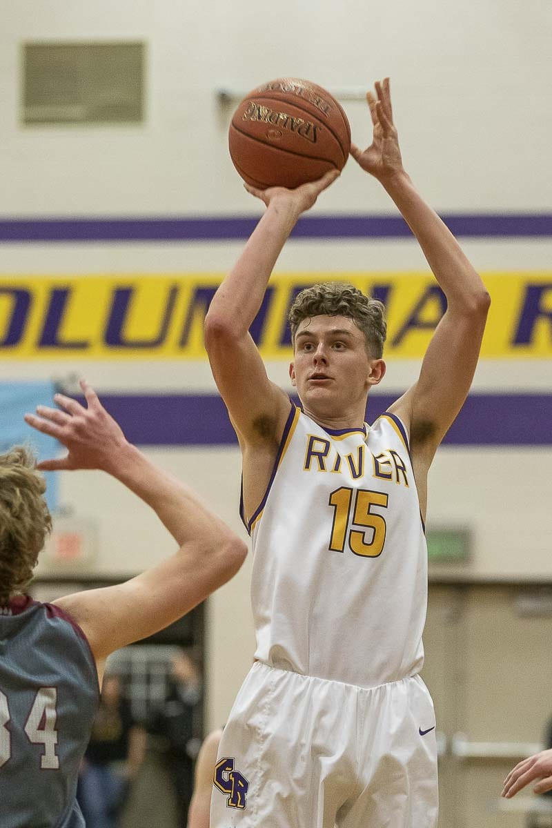 Columbia River's Evan Dirksen had the hot hand all night Tuesday, scoring 25 points in a win over W.F. West. Photo by Mike Schultz