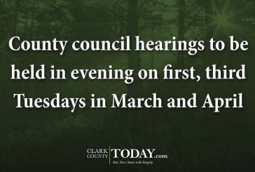 County council hearings to be held in evening on first, third Tuesdays in March and April