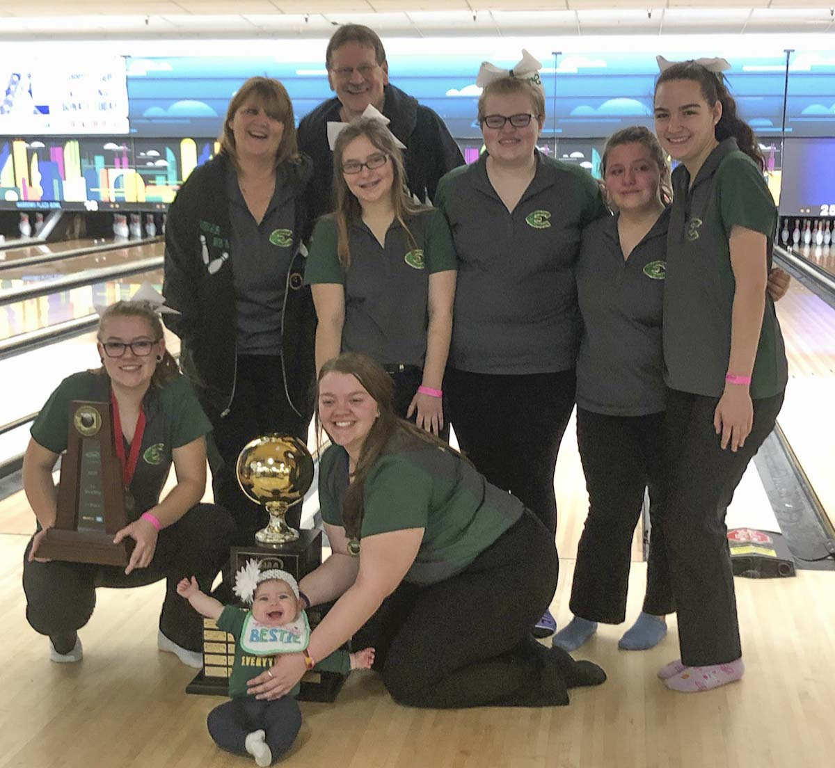 The Evergreen Plainsmen celebrated their third consecutive state team title in high school bowling Friday in University Place. Photo courtesy of Kerissa Andersen