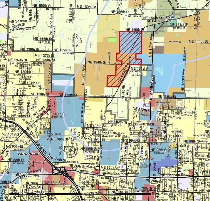 This map shows the area (in red) proposed for freight rail dependent use zoning overlays. Image courtesy Clark County Community Development