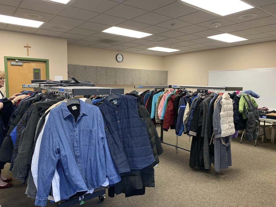 Donated clothing waits for people at Project Homeless Connect. Photo courtesy Clark County Council for the Homeless