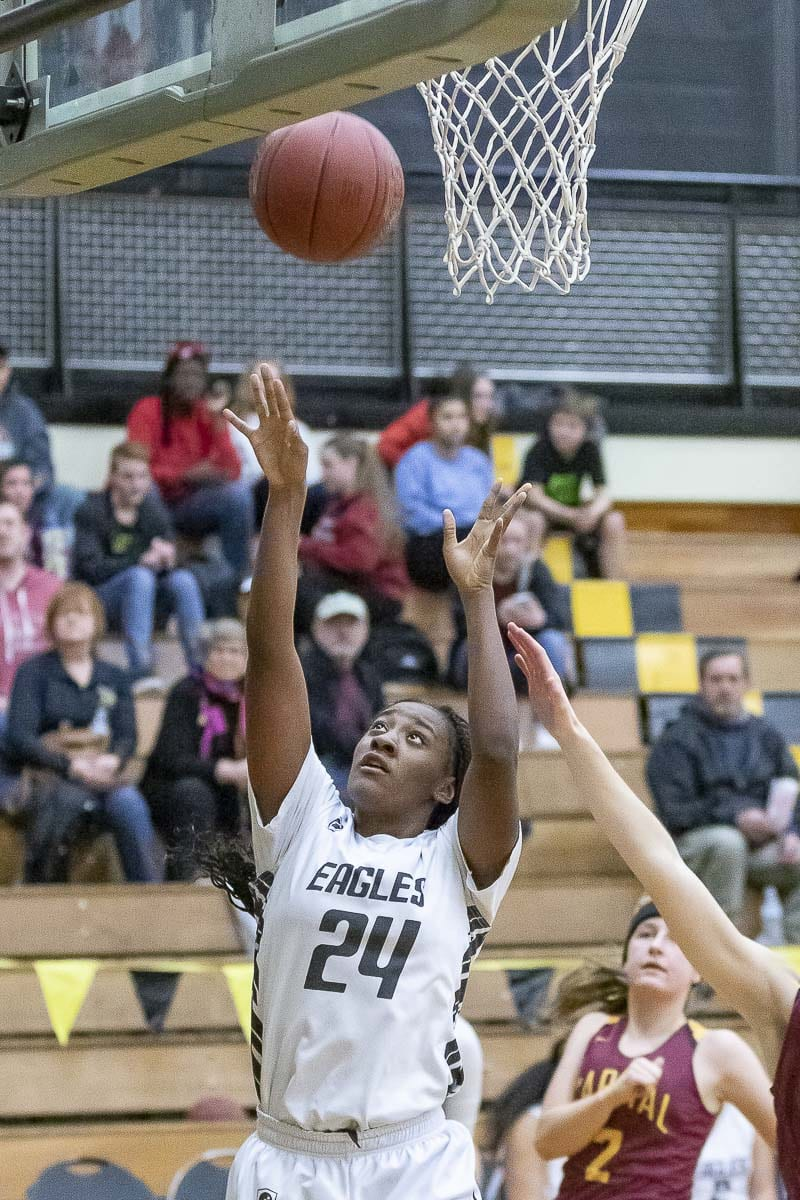 Kamelai Powell had 19 points and 15 rebounds, leading the Hudson's Bay attack Thursday. Photo by Mike Schultz