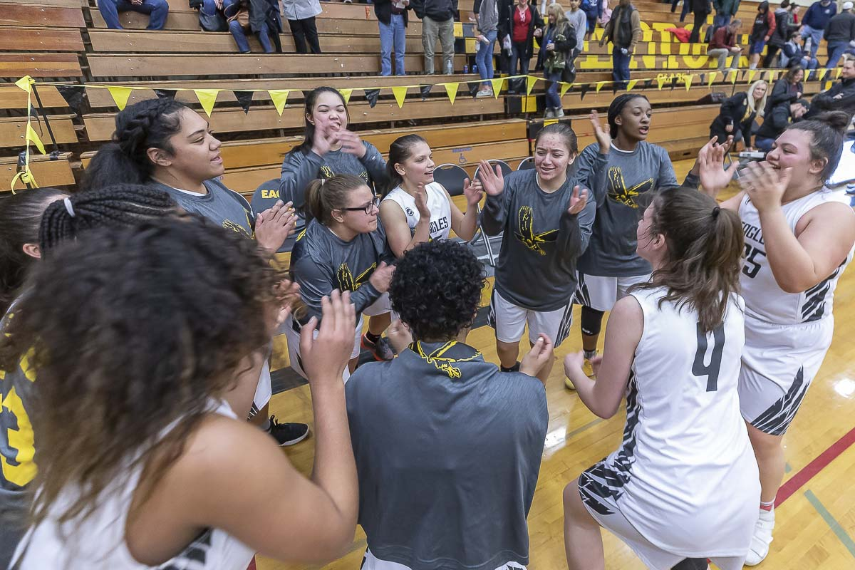 The Hudson's Bay Eagles have been celebrating a lot of big wins this season. This weekend, they qualified for the state basketball tournament. Photo by Mike Schultz