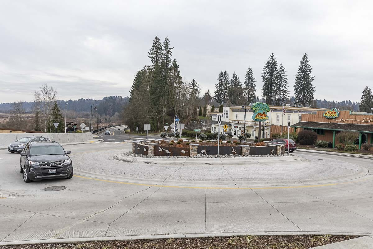 A new roundabout construction project in La Center was completed in December. Photo by Mike Schultz