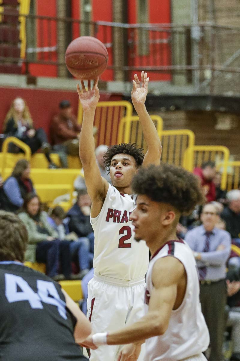Prairie's Aidan Fraly said he had to step up his game Wednesday. He did just that, with 16 points to go with five steals and a blocked shot. Photo by Mike Schultz