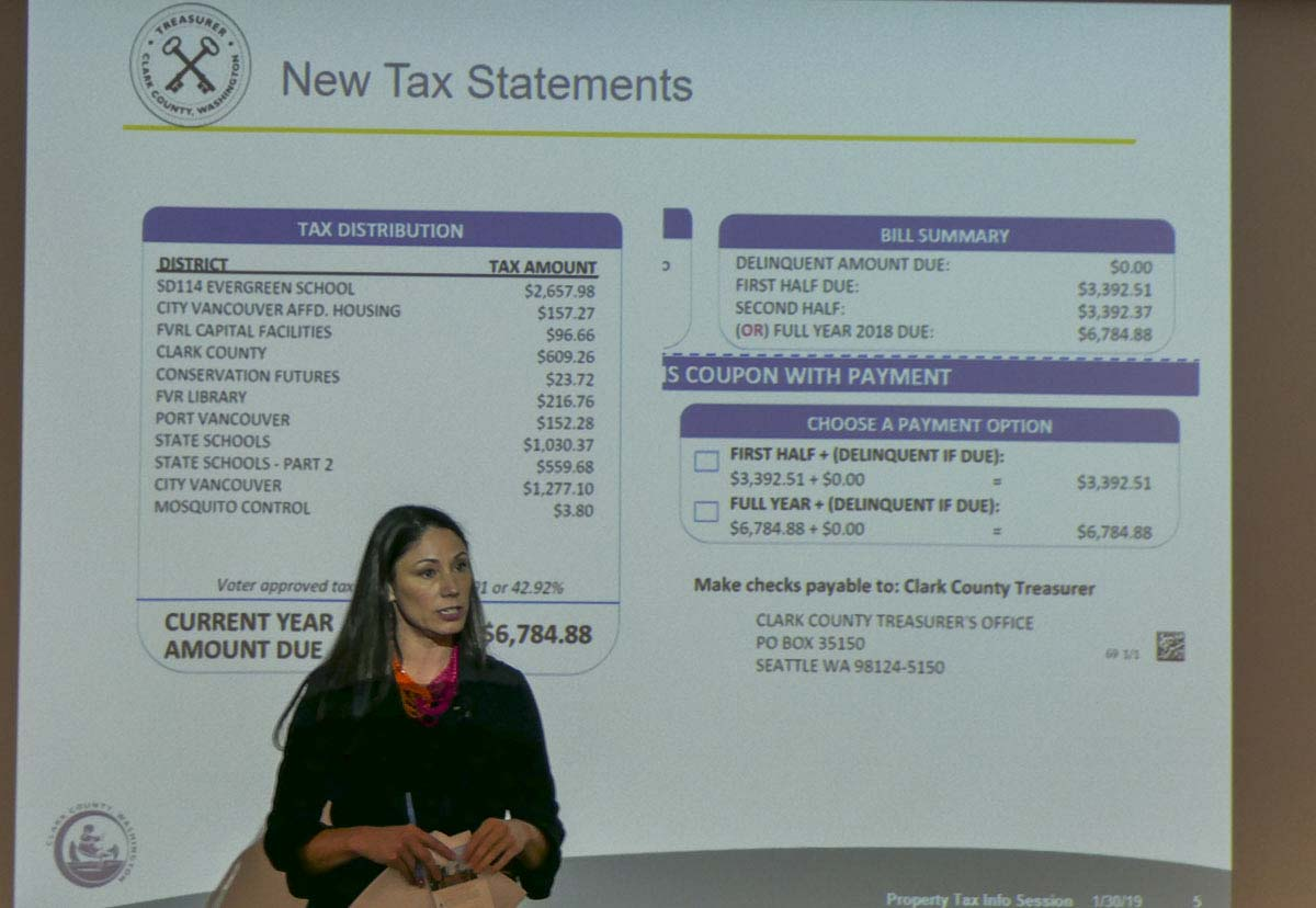 Clark County Treasurer Alishia Topper shows what's changed on your property tax statement this year. Photo by Chris Brown