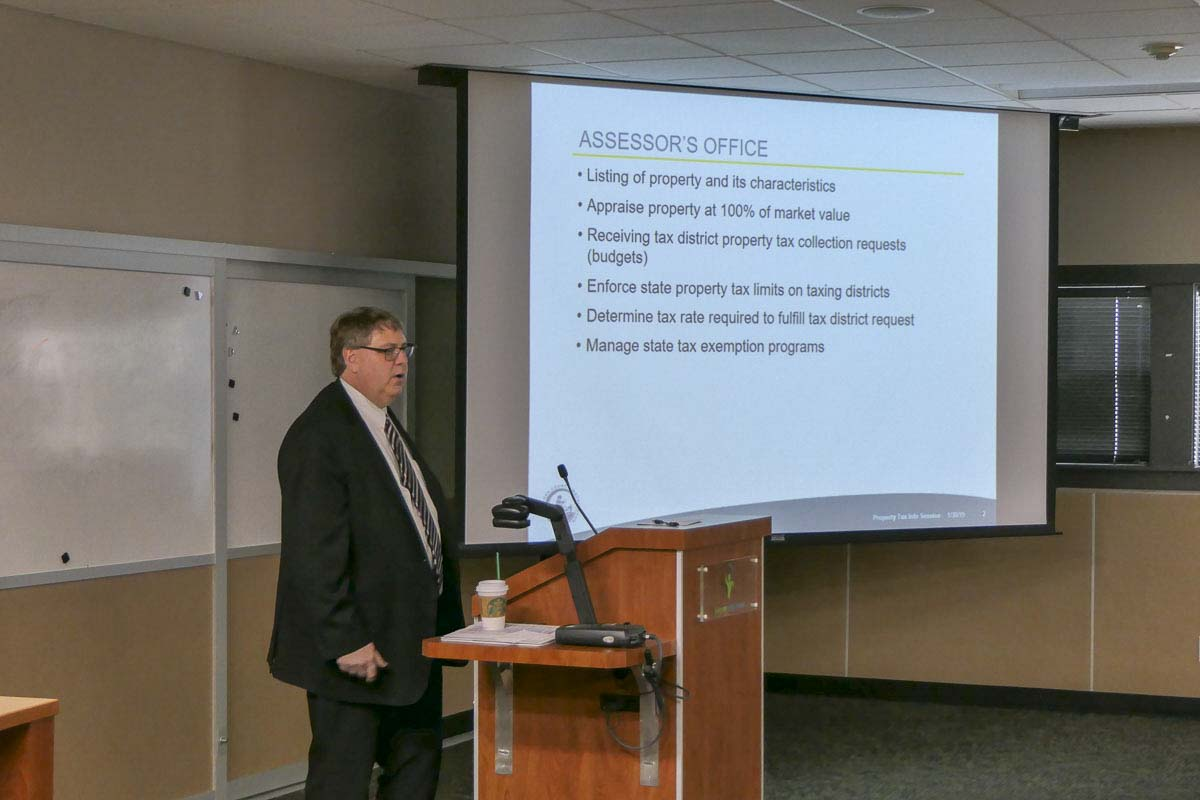 Clark County Assessor Peter Van Nortwick talks about 2019 property taxes at a Vancouver town hall meeting. Photo by Chris Brown