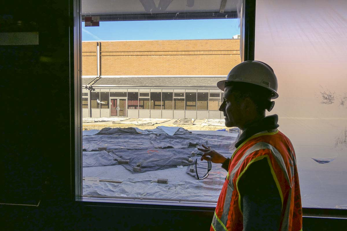 Ridgefield Schools Superintendent Nathan McCann tours the new civic center in December. Photo by Chris Brown