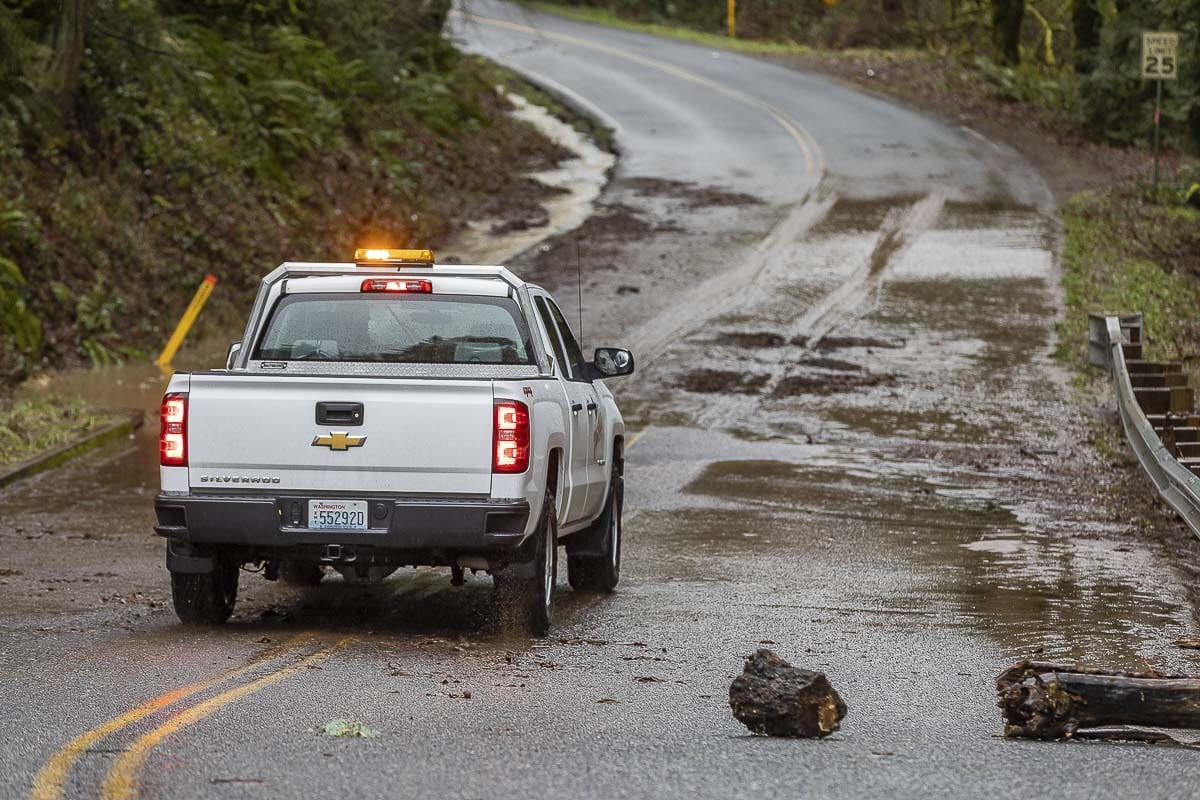 Debris from flooding closed Rieman Road in Ridgefield for a while on Tuesday. Photo by Mike Schultz