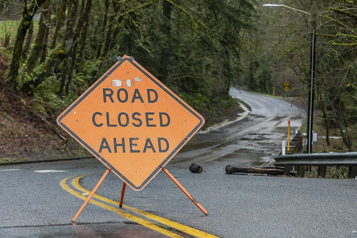 A Road Closed sign blocks Rieman Road in Ridgefield due to flooding Tuesday morning. Photo by Mike Schultz