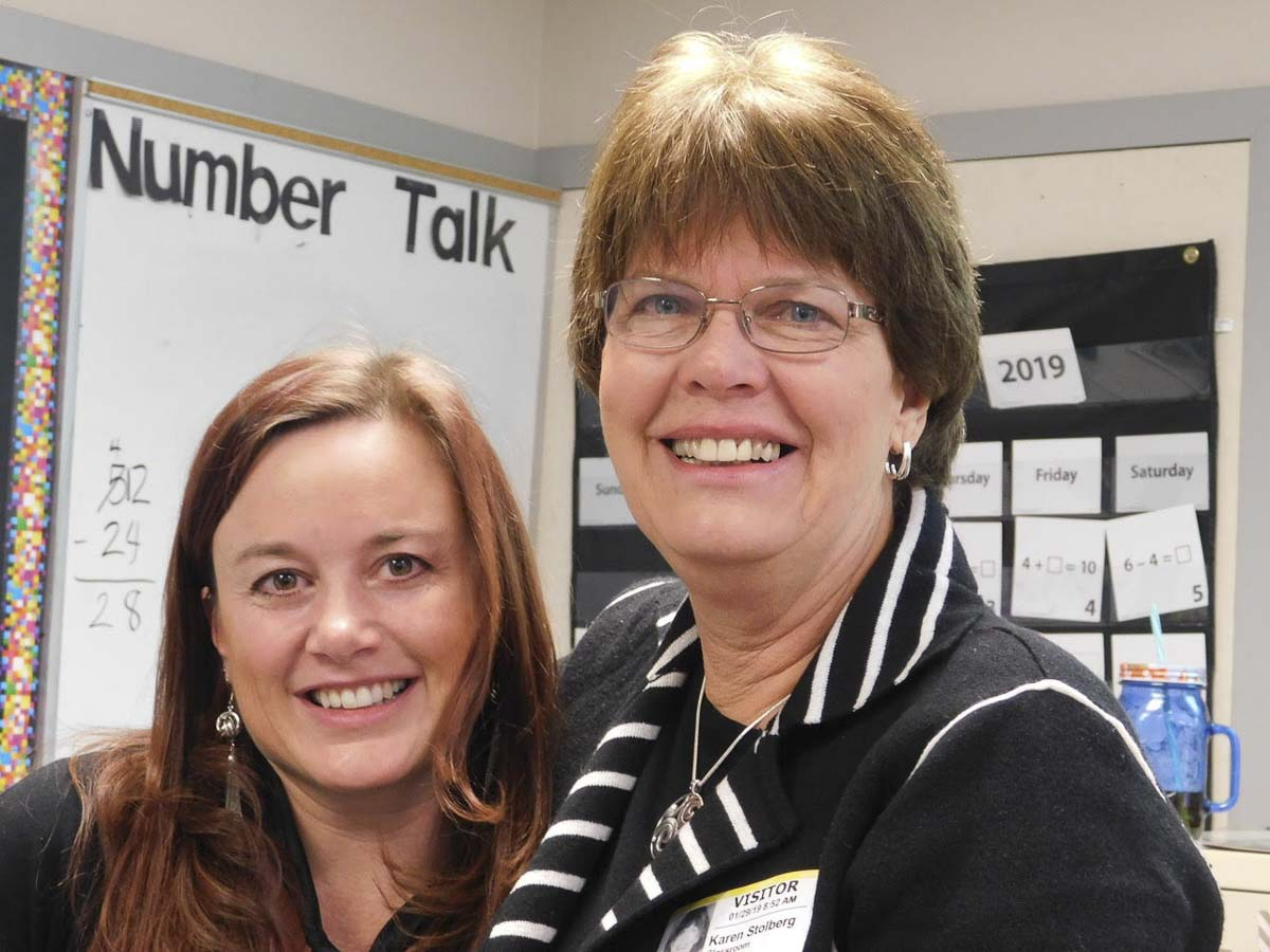 Union Ridge Elementary School teacher, Sara Eastham (at left) with Karen Stolberg, her teacher when she attended elementary school in Ridgefield. Photo courtesy of Ridgefield School District